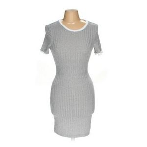 H&M Grey Bodycon Shift Dress with White Rib Detail